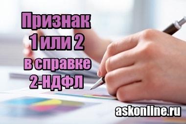 Фотография Признак 1 или 2 в справке 2-НДФЛ – что это
